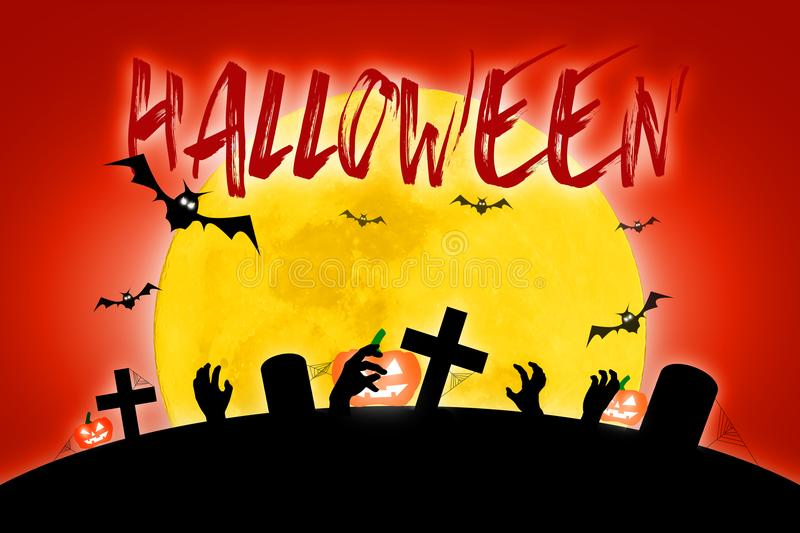 Halloween scary full moon and dead tree together with a horror b royalty free illustration