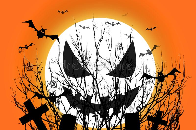Halloween scary full moon and dead tree together with a horror b stock illustration
