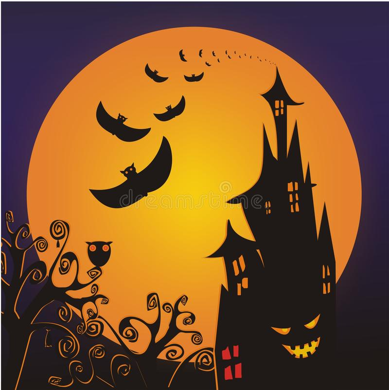 Halloween Scary Ghost Castle stock illustration