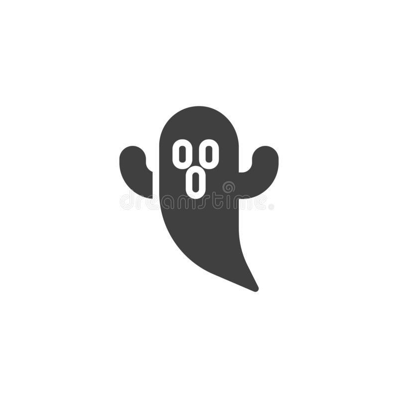 Halloween scary ghost vector icon. Filled flat sign for mobile concept and web design. Spooky ghost glyph icon. Symbol, logo illustration. Vector graphics stock illustration