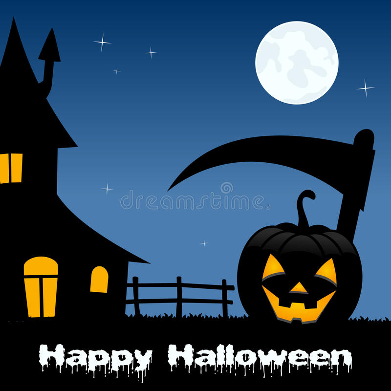 Halloween Scary Landscape with Full Moon stock illustration