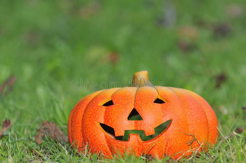 Halloween scary pumpkin with a smile stock image