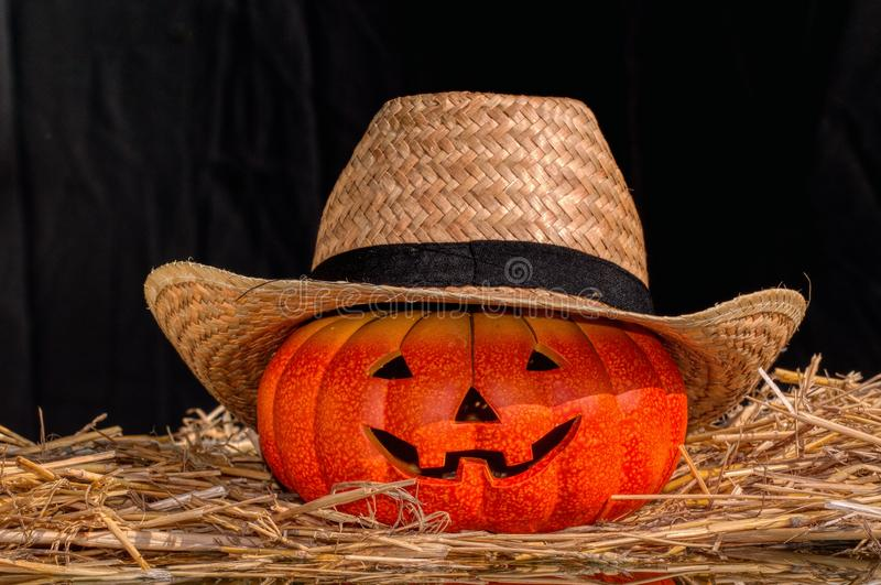 Halloween scary pumpkin with a smile royalty free stock image