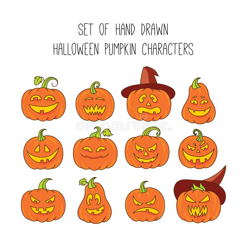 Halloween scary pumpkins vector illustration set. Collection of colorful funny pumpkin faces royalty free illustration