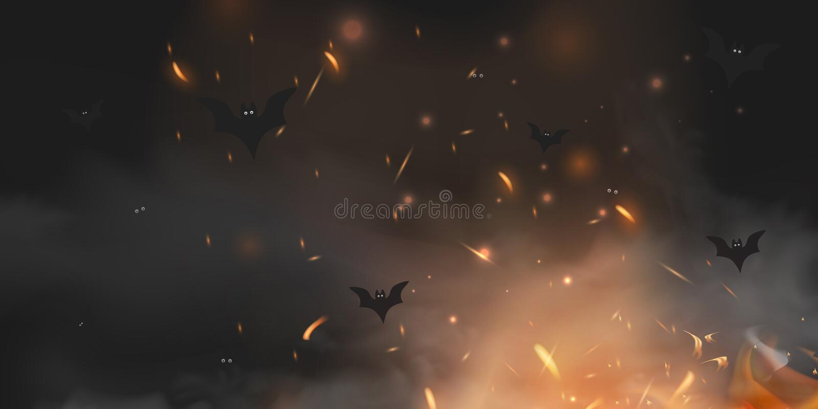 Halloween scary vector dark background with magic black lights evil eyes, lights, Fire sparkle bokeh and bats. Silhouettes in mystic fog. Halloween poster vector illustration