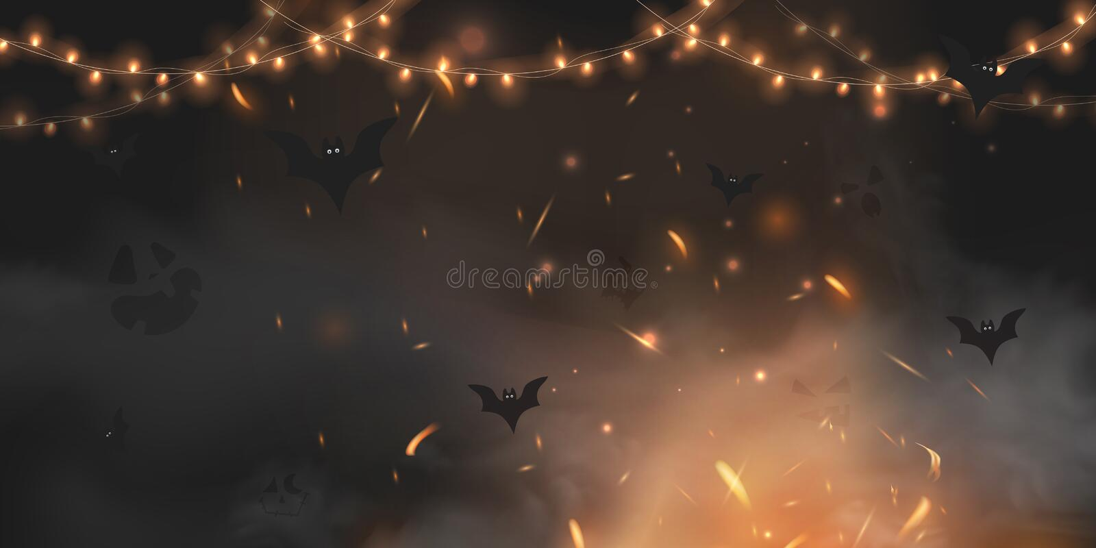 Halloween scary vector dark background with magic black lights evil eyes, ghost, lights, Fire sparkle bokeh and bats. Halloween scary vector dark background with stock illustration