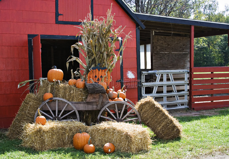 Halloween Scene. A red barn decorated for fall and halloween and thanksgiving