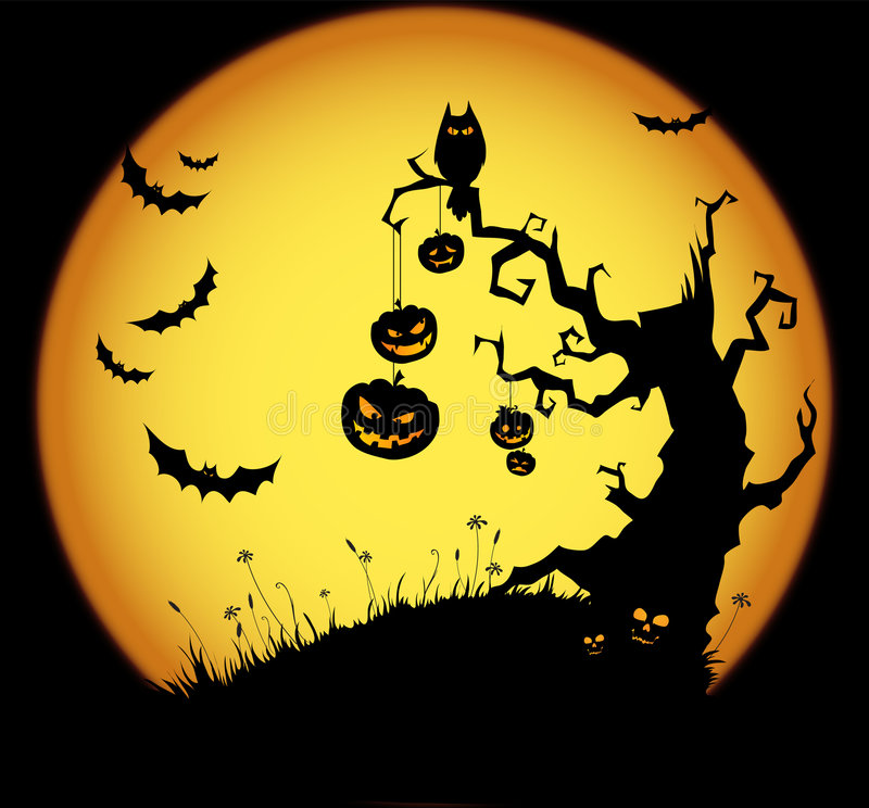 Halloween scene stock illustration