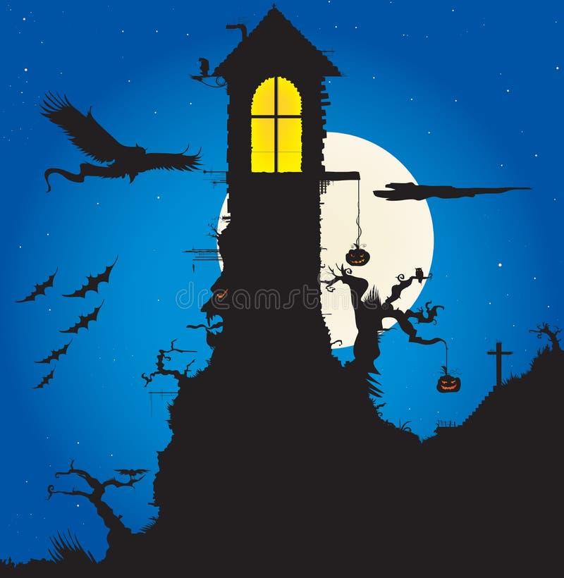 halloween scene ελεύθερη απεικόνιση δικαιώματος