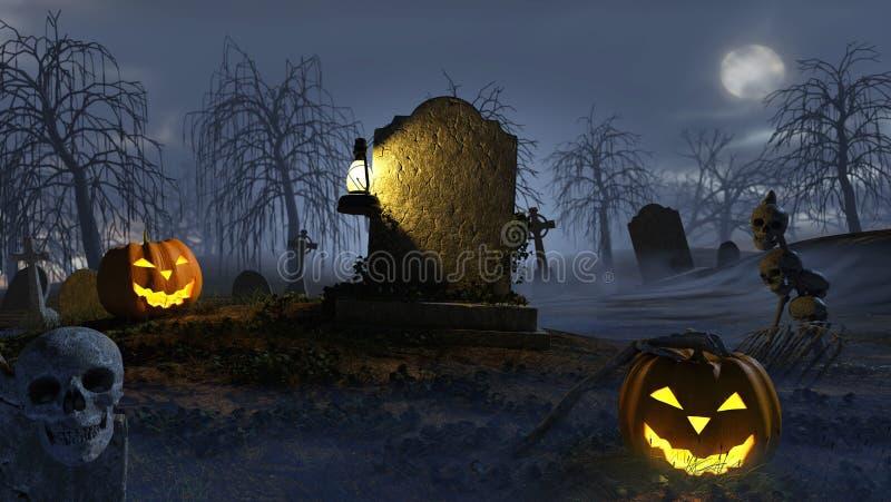 Halloween Scene. A halloween scene on a cemetary royalty free illustration