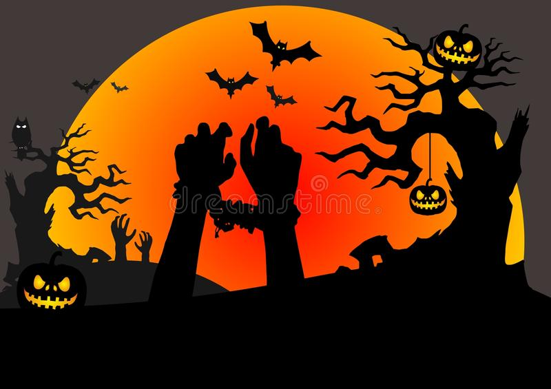 Halloween scene with tied zombies hands stock illustration