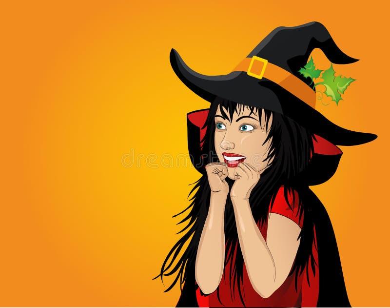 Halloween Schönheit im Hut- und Hexenkostüm ist überrascht stock abbildung