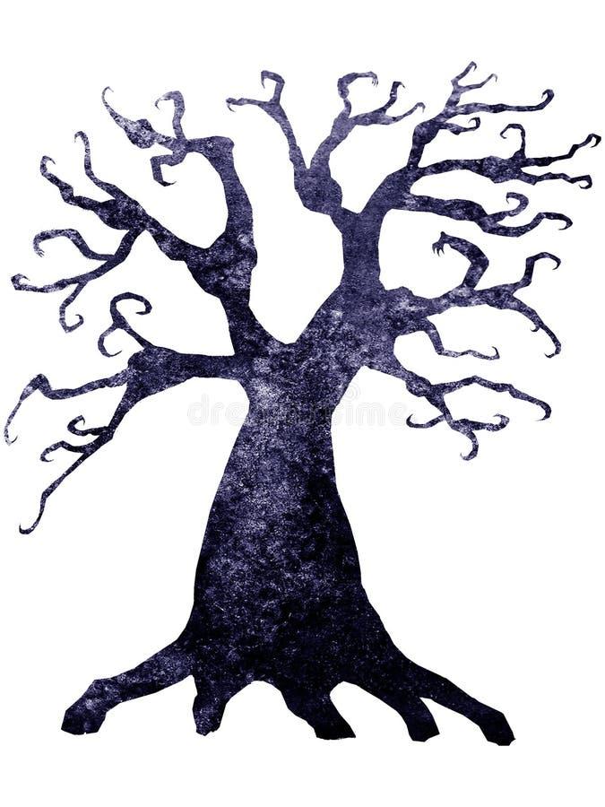 Halloween-Schattenbild des schrecklichen toten Baums des Aquarells lokalisiert auf weißem Hintergrund lizenzfreie abbildung