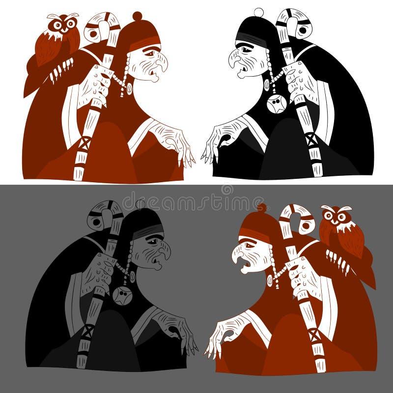 Halloween, Schattenbild mit zwei Hexen, auf weißem Hintergrund lizenzfreie abbildung