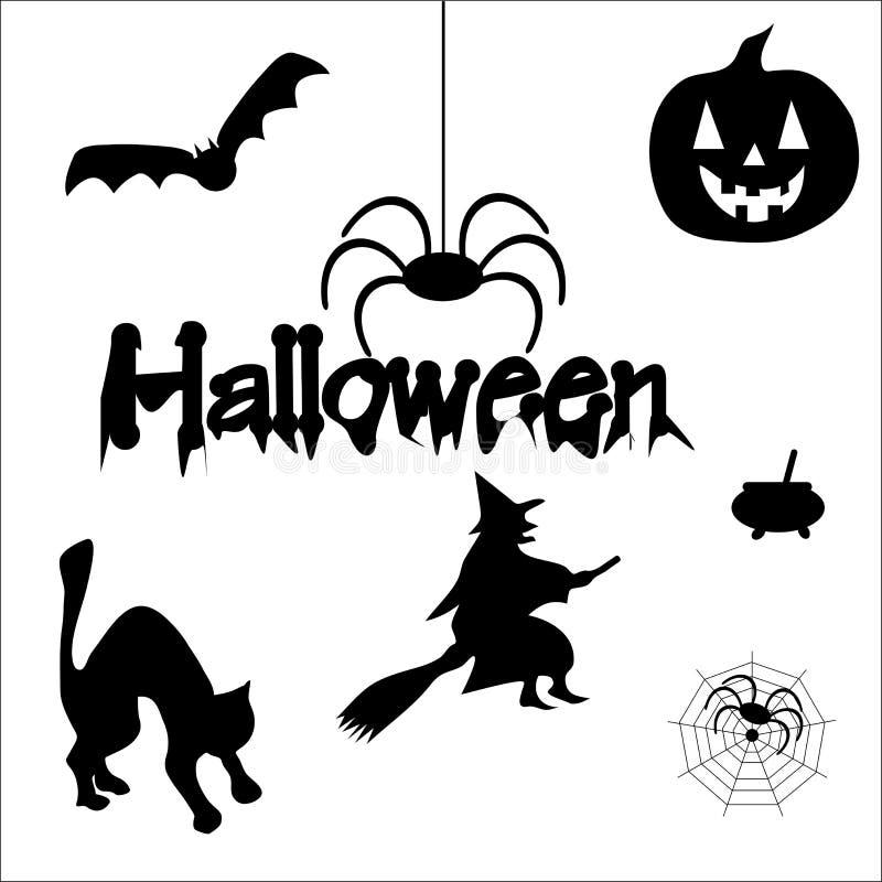 Halloween-Schattenbilder stock abbildung