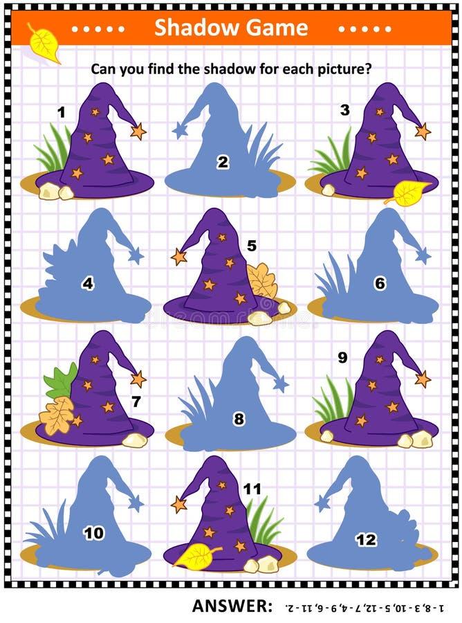 Halloween-Schattenspiel mit Hexenhüten vektor abbildung