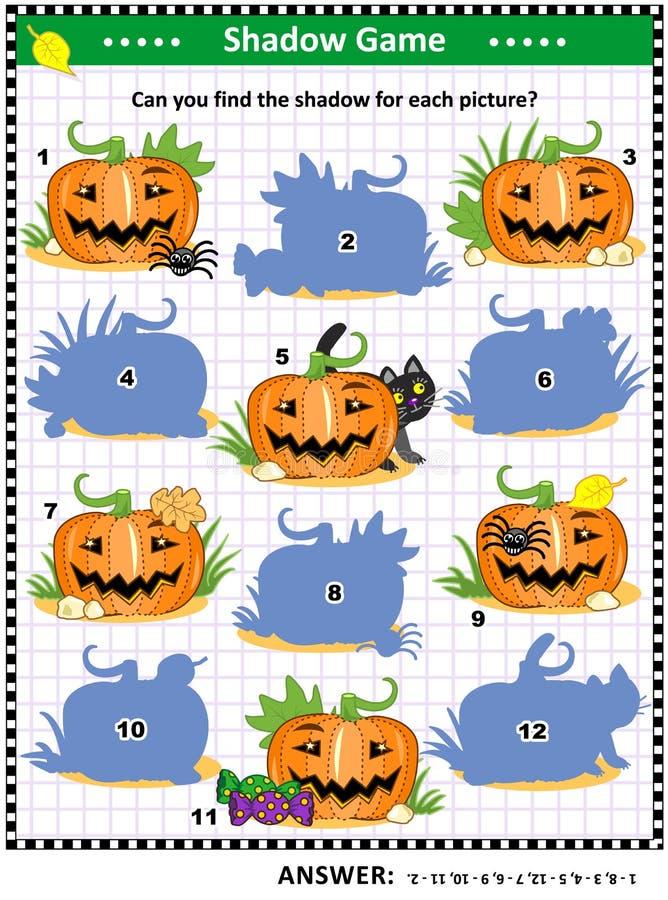 Halloween-Schattenspiel mit Kürbisen lizenzfreie abbildung