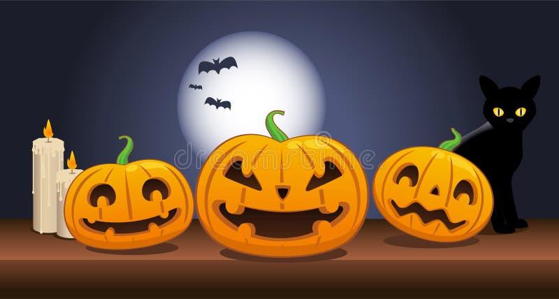 Halloween schnitzte Kürbisköpfe lizenzfreie abbildung
