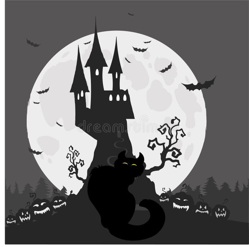 Halloween Schwarze Katze auf dem Hintergrund des Schlosses von Dracula und von Vollmond vektor abbildung
