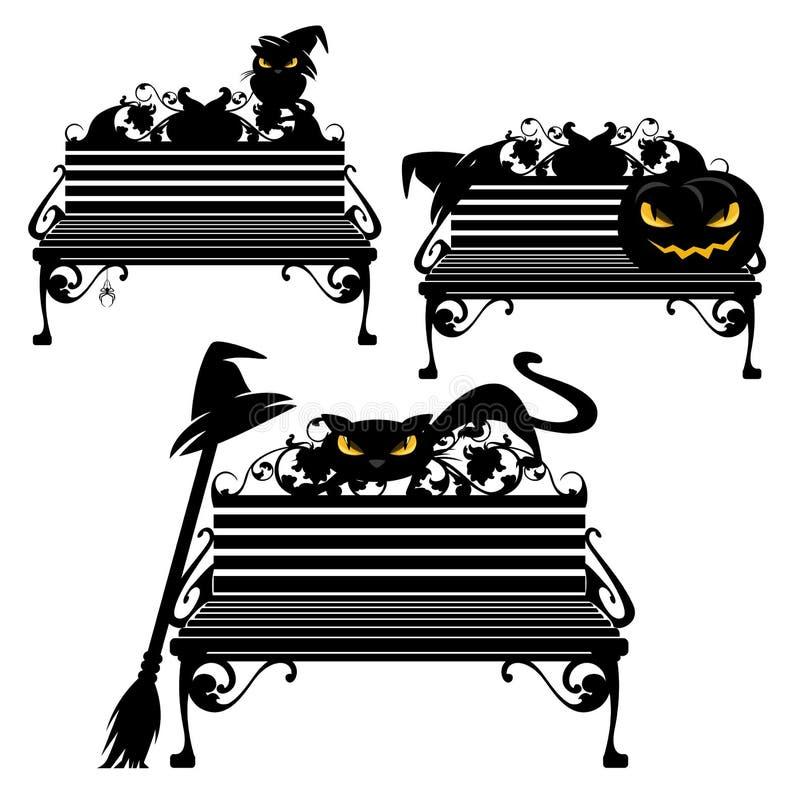 Halloween-Schwarzhexenkatze, die auf Bankvektor-Entwurfssatz sitzt lizenzfreie abbildung