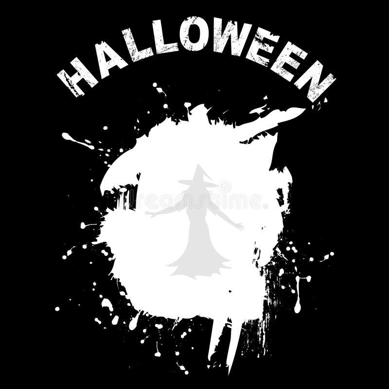 Halloween-Schwarzhintergrund mit Schmutz und Hexe lizenzfreie abbildung
