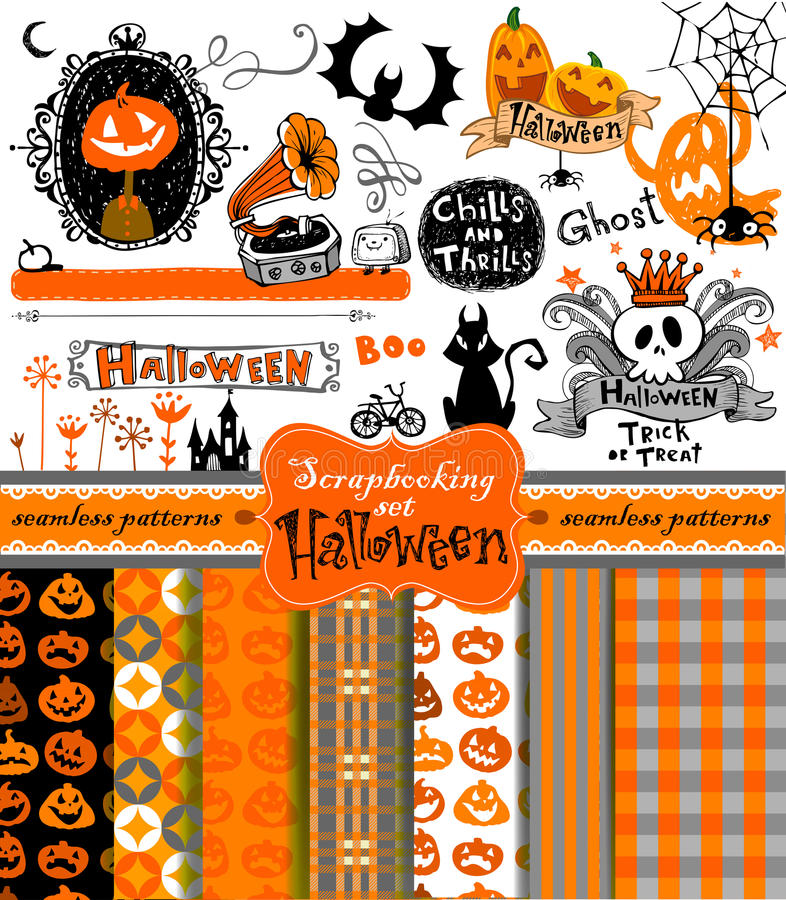 Halloween scrapbook objects. vector illustration