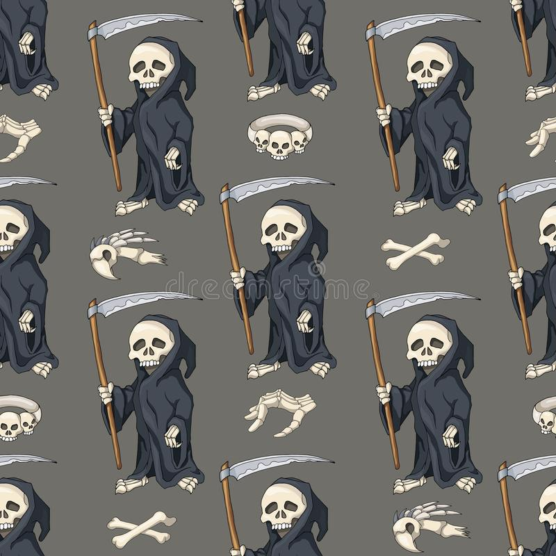 Halloween seamless pattern, background with cartoon skeletons royalty free illustration