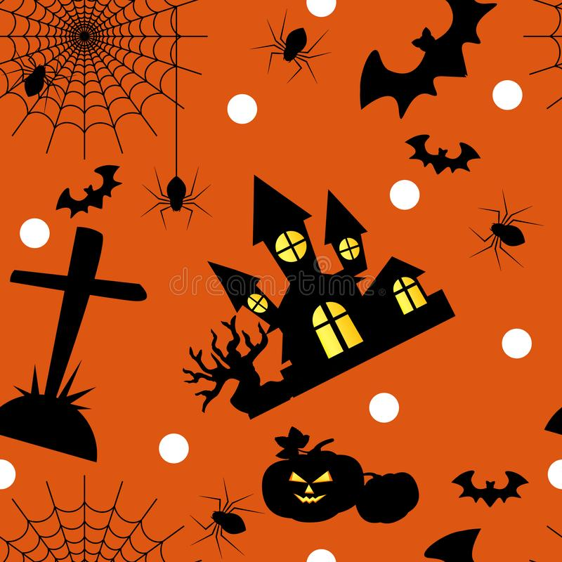 Halloween seamless pattern with cute Halloween elements. royalty free illustration