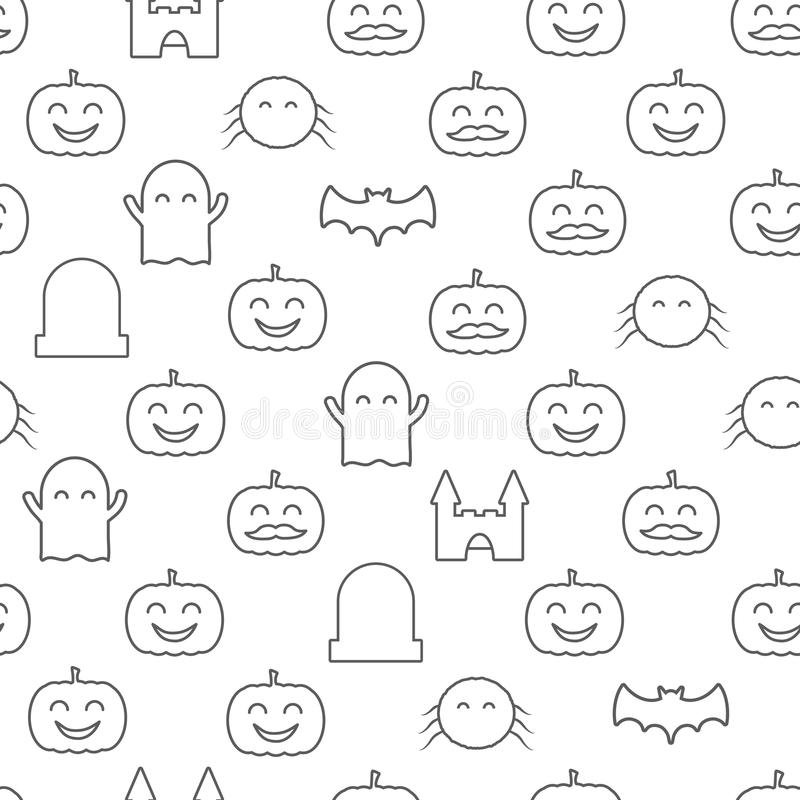 Halloween seamless pattern with cute and funny festive elements. Loopable background. royalty free illustration
