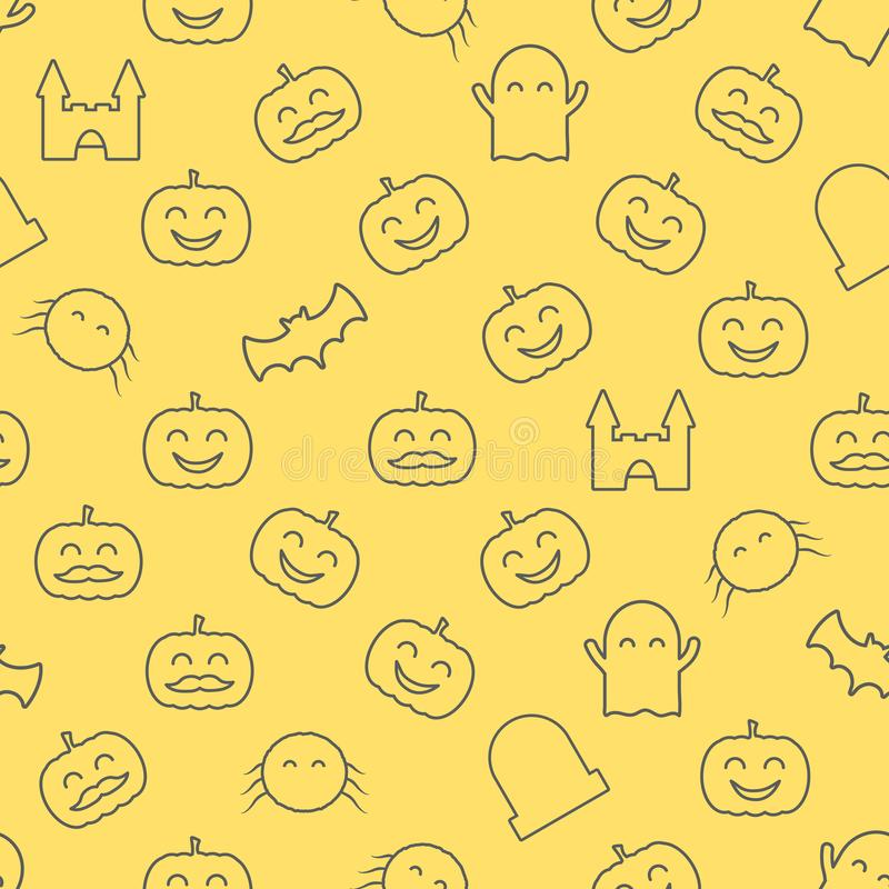 Halloween seamless pattern with cute and funny festive elements. Loopable background. stock illustration