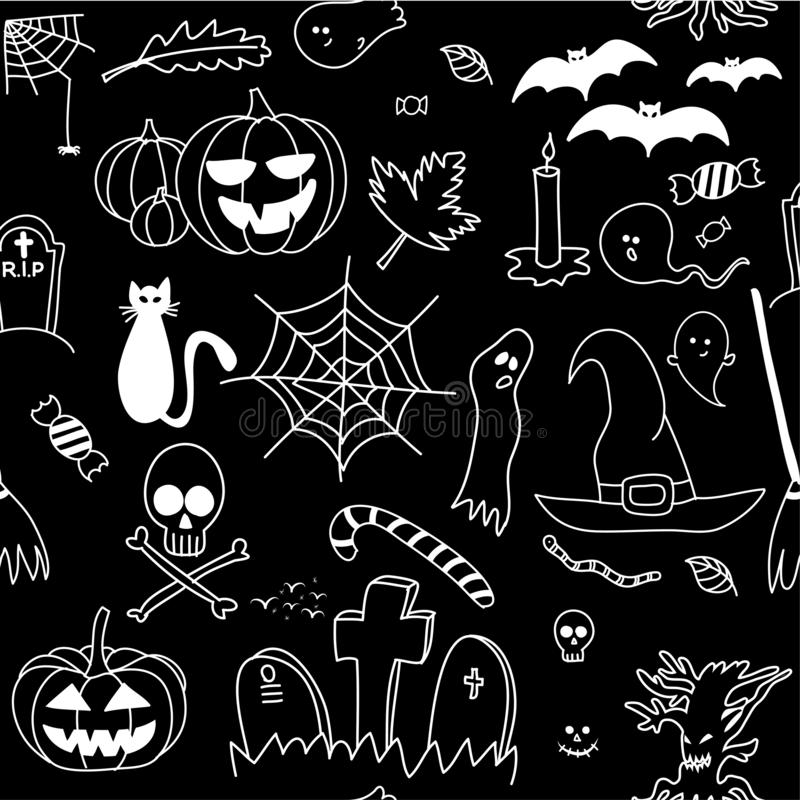 Halloween seamless pattern, doodle design set. stock illustration
