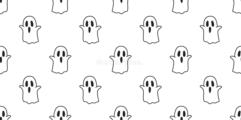 Halloween Seamless Pattern Ghost Spooky Cartoon Wallpaper Background White Stock Illustration Illustration Of Black Celebration 123534733