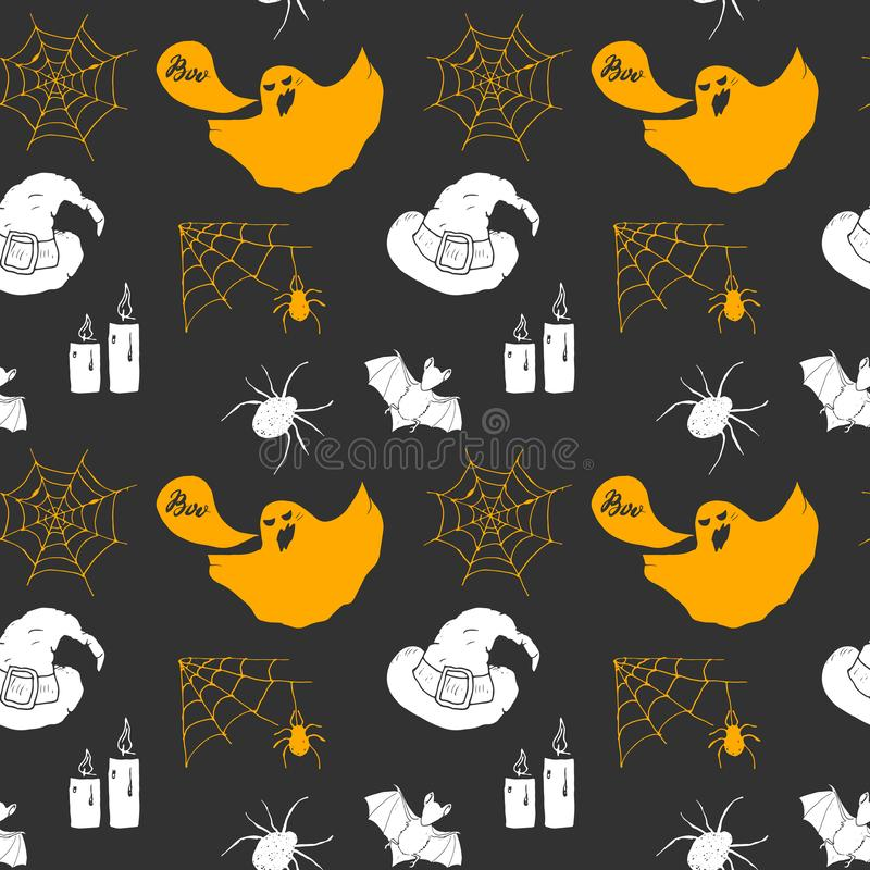 Halloween seamless pattern. Hand drawn sketched background, party invitation or holiday banner design vector illustration.  royalty free illustration