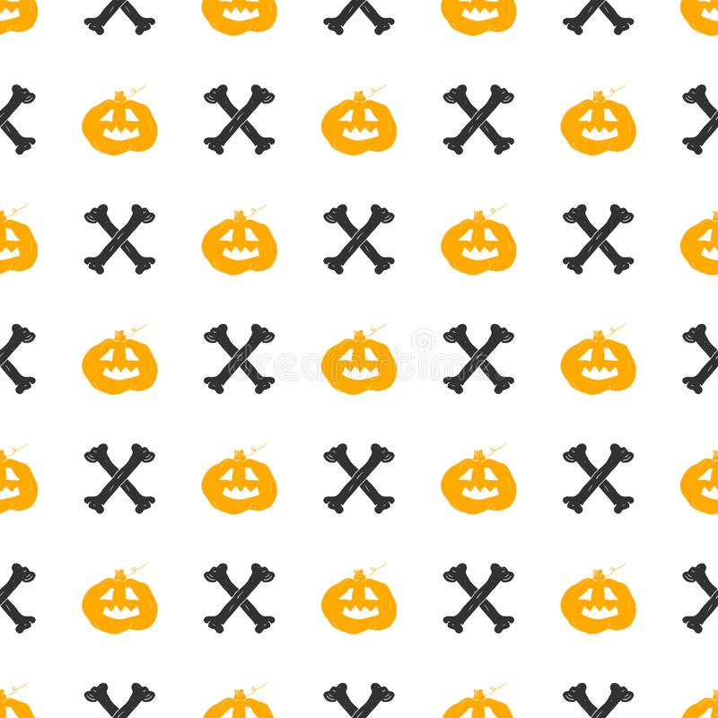Halloween seamless pattern. Hand drawn sketched background, party invitation or holiday banner design vector illustration.  stock illustration