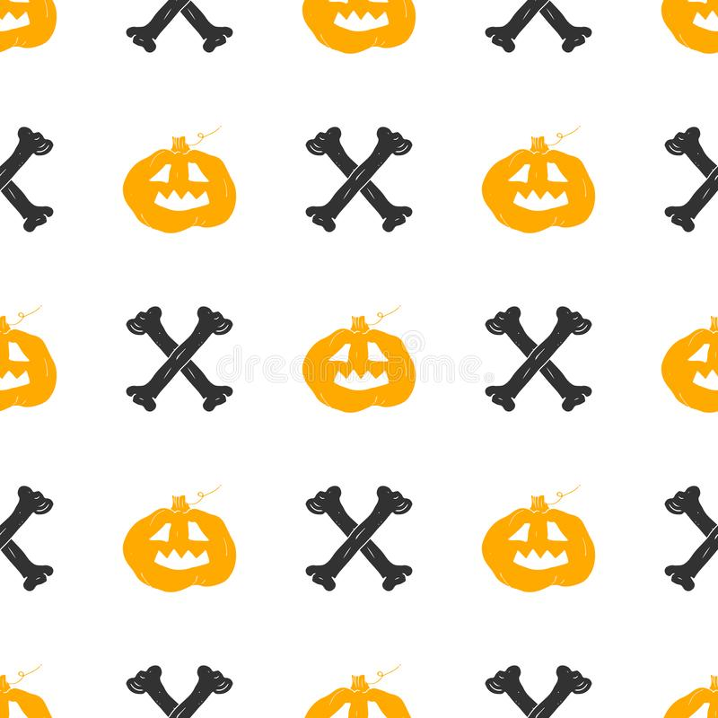 Halloween seamless pattern. Hand drawn sketched background, party invitation or holiday banner design vector illustration.  vector illustration