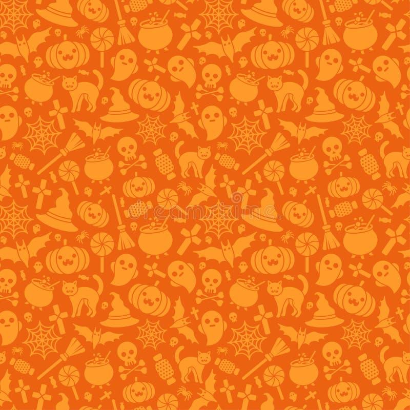 Halloween Seamless Pattern Orange Background stock illustration