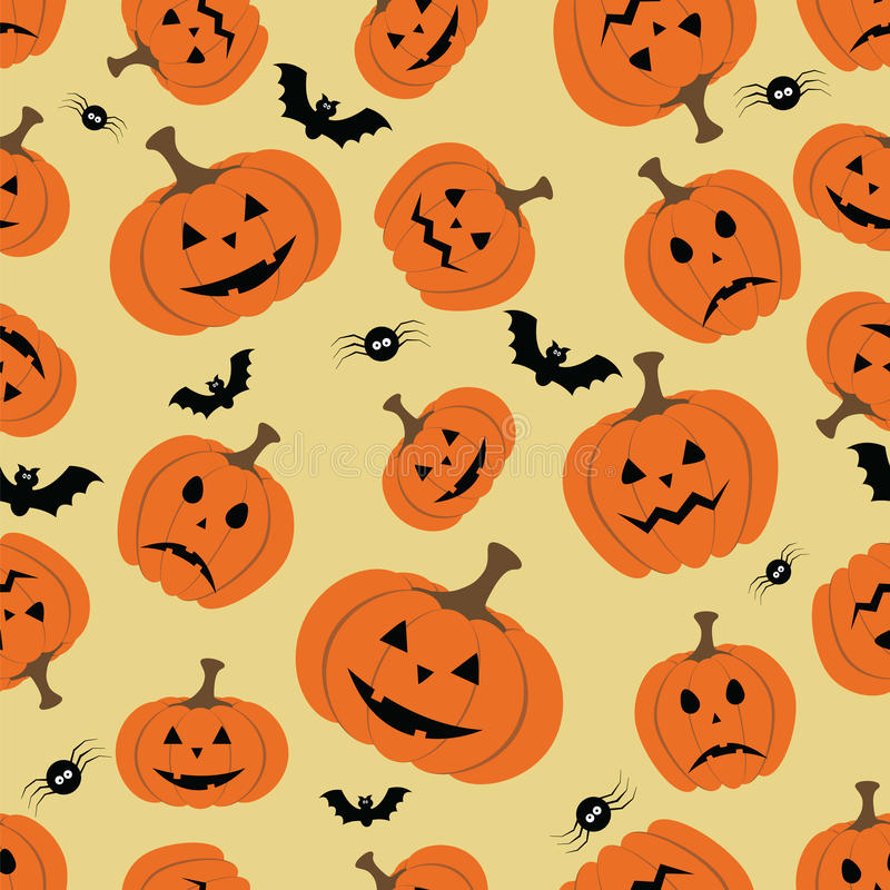 Halloween seamless pattern with pumpkin, bat and spider. Vector file layered for easy manipulation and custom coloring stock illustration