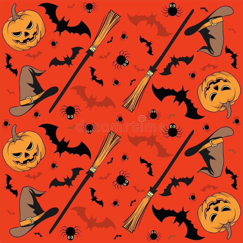 Halloween seamless pattern with pumpkin, candles, skulls, broom, bat and witch Hat - vector. Halloween card with pumpkin, broom, skulls, candles, bat and witch vector illustration