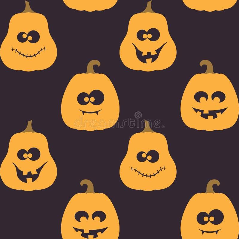Halloween seamless pattern with pumpkins vector illustration