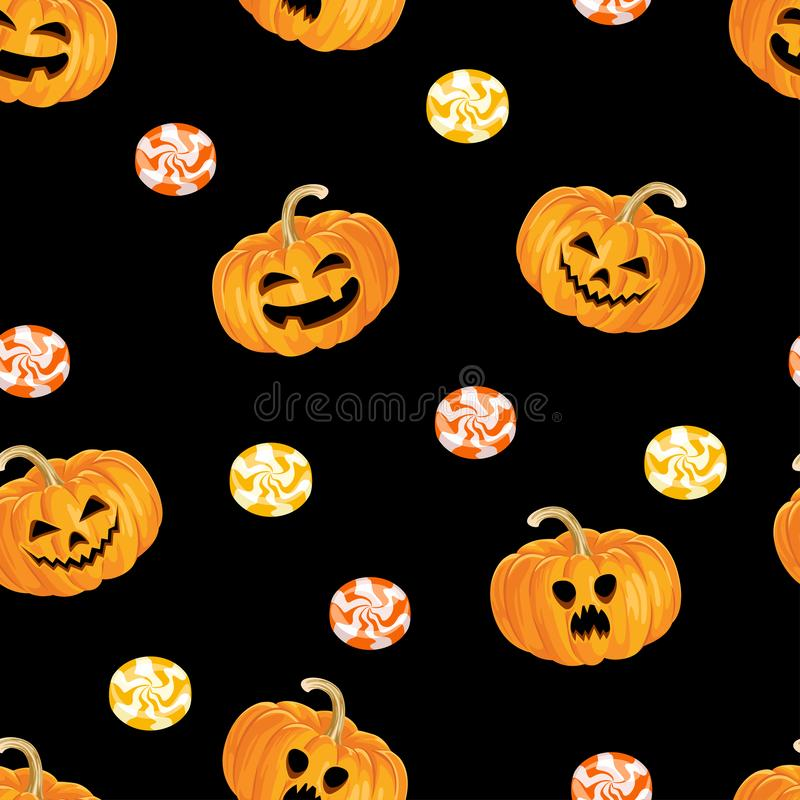Halloween seamless pattern. Scary pumpkins, orange and yellow sweet candies on  dark background. vector illustration