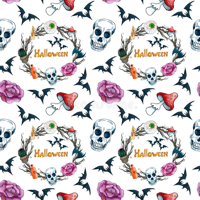 Halloween seamless pattern with scary scull, wreath, bat, rose, eye, mushroom, poison, candle. Watercolor hand drawn elements royalty free illustration