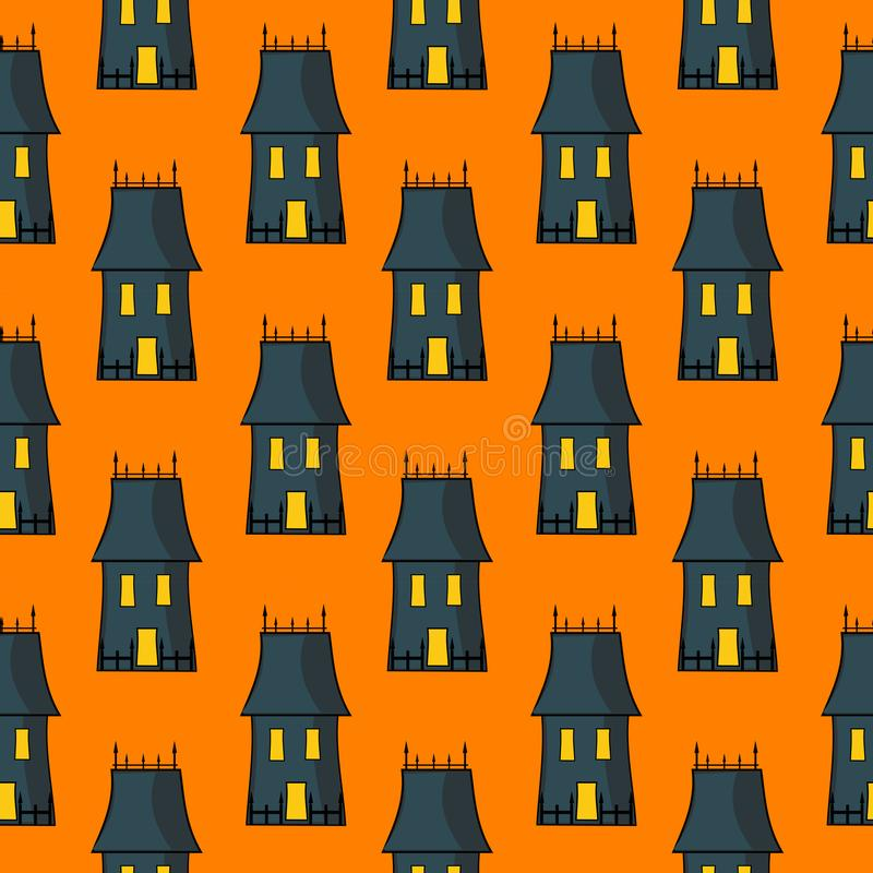 Halloween Seamless Pattern With Spooky Haunted House stock illustration