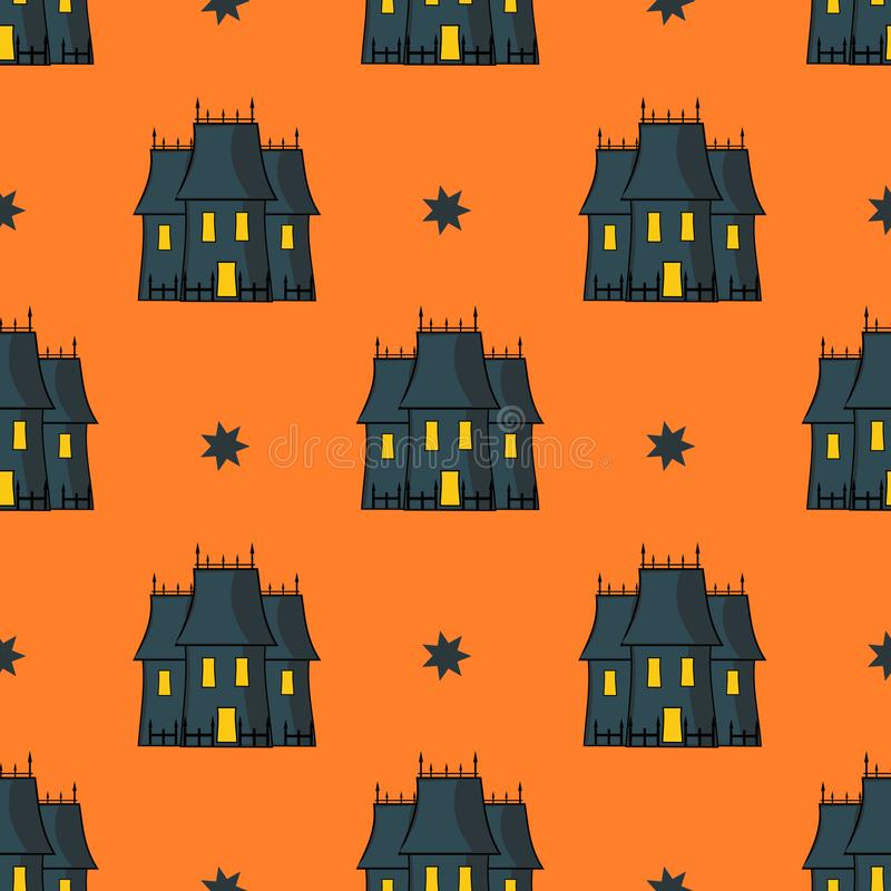 Halloween Seamless Pattern With Spooky Victorian Manor. Repeated Illustration vector illustration