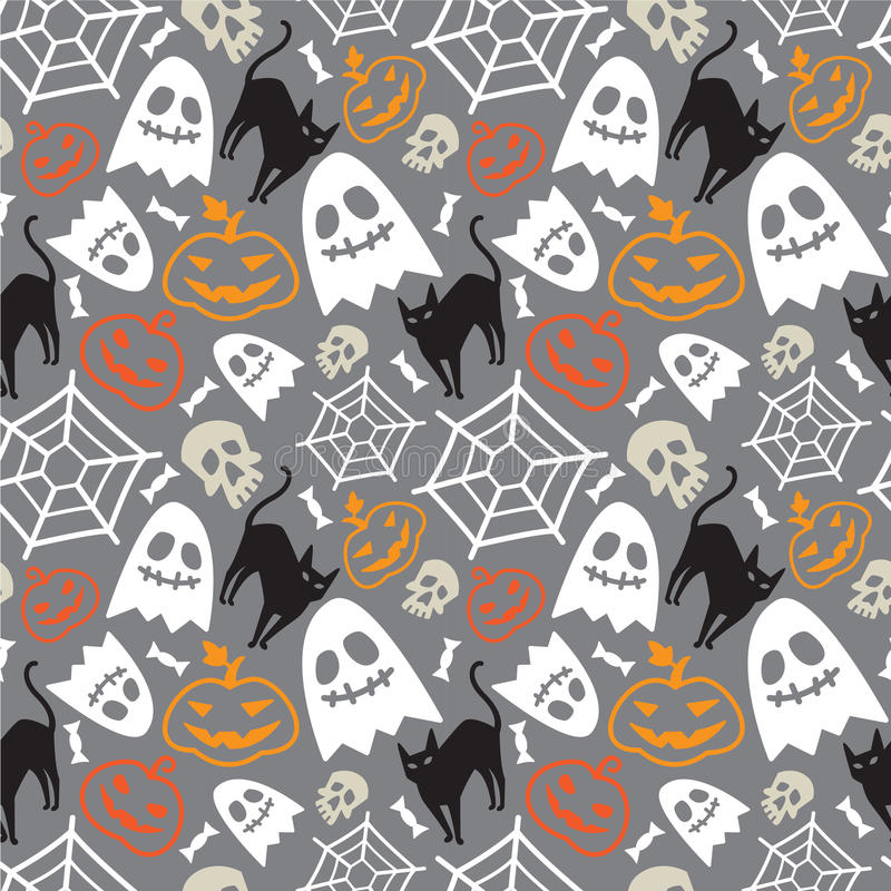 Halloween seamless pattern. Halloween seamless vector pattern with orange pumpkins, ghost, skull, web, candy and black cat royalty free illustration