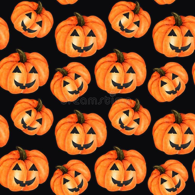 Halloween Seamless pattern Watercolor painted collection of orange creepy pumpkin. Cartoon style Hand drawn fresh vegan stock illustration