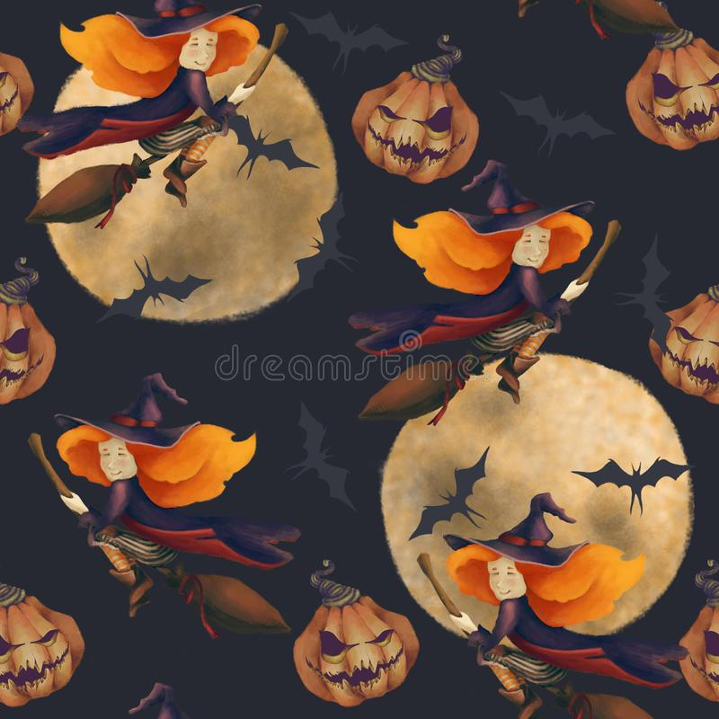 Halloween. Seamless pattern with a witch and moon and bat. Fantastic illustration. girl on a broom on a dark blue vector illustration