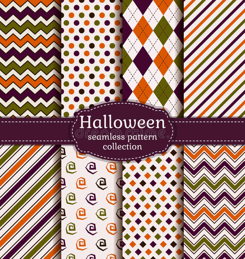 Halloween seamless patterns. Vector set. stock illustration
