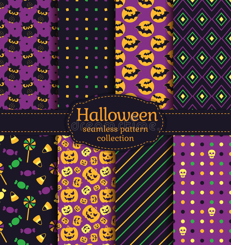 Halloween seamless patterns. Vector set. vector illustration