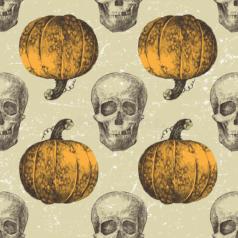 Halloween seamless with sculls and pumpkins royalty free illustration