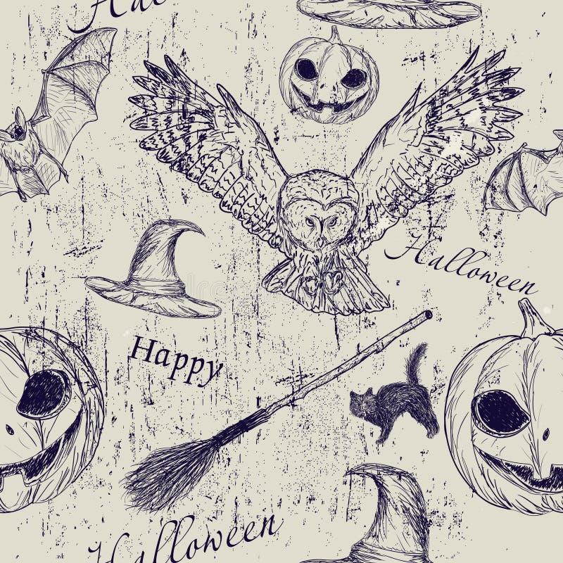 Halloween seamless textur stock illustrationer